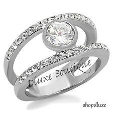 Modern Round Cut CZ Stainless Steel Engagement Wedding Ring Women's Size 5-10