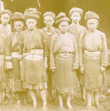 VINTAGE ANTIQUE BURMA ? BURMESE ? PEASANTS TRADITIONAL DRESS SEPIA HEAD PHOTO