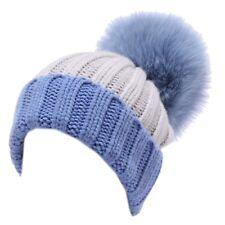 5016Y cuffia bimba Regina Gold wool light blue hat girl