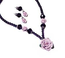 Necklace set Porcelain Rose purple lavender, choose clip on pierced earrings