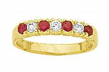 Dolly-Bijoux Alliance Demi-Rail Rubis et Diamant Cz 3 mm Plaqué Or 18K 5 Microns