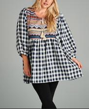 Cute Reg Size BLACK & WHITE BoHo Gypsie Mini Dress Tunic S, M, L