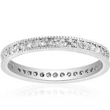 3/8ct Diamond Eternity Milgrain Wedding Ring 14K White Gold Women Stackable Band