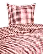 Landhaus Bettwäsche Züchen Karo Vichy Baumwolle rot weiß