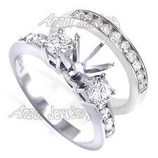 Platinum Genuine Diamond Engagement Ring Wedding Band Bridal Set #R1714