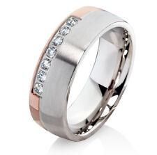 Verlobungsring Ehering mit Zirkonias Trauring aus Edelstahl und Ringgravur P138D