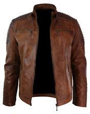 Para Hombres Biker Vintage Style Cafe Racer De Cuero marrón de aspecto envejecido de Cera Chaqueta