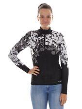 CMP Knitted Jumper Collar Sweater Black Half Zip Stretch Pattern