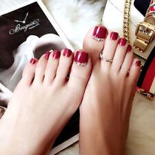 3D Toe Fake Glue Shimmer Diamond Full red Nail Metallic Silver Tip 24/1 nail uk