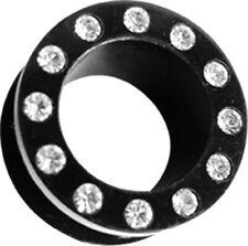 SET 2 nero Piercing Orecchio Acrilico Flesh Tunnel con Corona pietra in 4mm-20mm