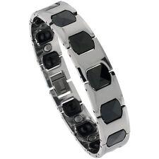 Tungsten Carbide & Ceramic 2-tone Magnetic Bracelet w/ H & Cushion Links