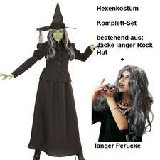 elegante Märchen HEXE Damen Kostüm Komplettset mit Perücke Halloween Zauberin