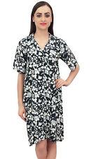 Bimba Floral Print Black Women Sleepshirt Notched Collar Sleepwear Nightshirt