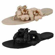 Ladies Spot On Flat Jelly Toepost Sandals