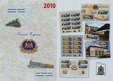 Romania 2010 Orient Express, Ferrovie mi.6466-67, Tab I + II, KB, blocco 478,fdc
