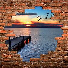 Sticker mural trompe l'oeil mur de pierre déco Mer Mouette réf 867