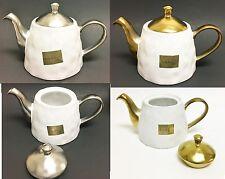 Nicole Miller Blanco + Metálico Oro + Plata Porcelana Cafetera, TEAPOT-5 Tazas