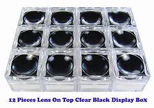 BLACK SPONGE LENS ON TOP CLEAR PLASTIC JAR BOX 3x3CM SMALL GEM GEMSTONE DISPLAY