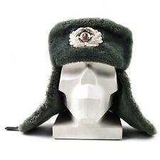 Original German NVA army winter hat. Grey military ushanka cap with cockade