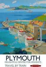 Plymouth Lido Bay VINTAGE RAILWAY POSTER Devon Holiday by Train Advert ART PRINT