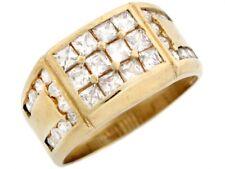 10k Solid Gold CZ High Polised Cluster Fancy Mens Ring