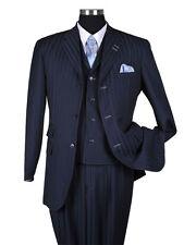 Men's 3 Button Classic Striped Suit w/ Vest 3pc Set 5267 Navy Size 38 ~ 60