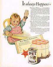 1920's BIG VINTAGE Pet Milk - Maud Tousey Fangel - Baby Art Print AD
