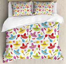 Fiesta Duvet Cover Set with Pillow Shams Sombrero and Maracas Print