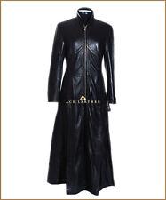 Trinity Black Ladies Matrix Real Lambskin Leather Full Length Trench Coat Jacket