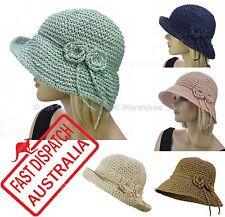 Ladies Portable Foldable Crochet 20s 20's Gatsby Party Cloche Bucket Sun Hat