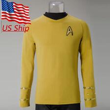 Star Trek Captain Kirk Shirt Costume TOS The Original Series Yellow Uniform New