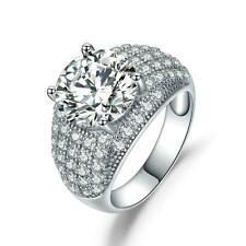 Damen Ring 925 Sterling Silber Zirkonia 3,50 ct 18 K Weißgold verg Rhodiniert
