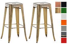 Set 2 Sgabelli Bar Joshua Metallo Coppia Sedie Rustico Industriali Impilabili