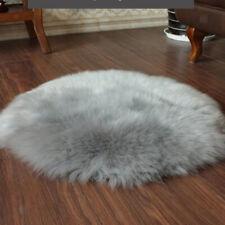 Nordic Faux Fur Carpet Sheepskin Area Rug Livingroom Round Floor Window Mat 90cm