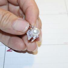 Shell Pearl White Diamond Alternatives Flower Ring White 14k Gold over Base