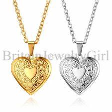 "Vintage Floral Heart Living Memory Photo Locket Pendant Necklace for Women 18"""