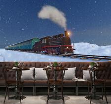 3D Snow Field Running Train Wallpaper Decal Dercor Home Kids Nursery Mural Home