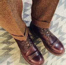 Men Spring Retro Trousers Herringbone Straight Pants British Wool Blend Trousers