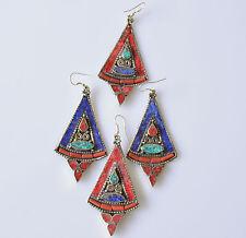 Turquoise Coral Earrings Tibetan Silver Sterling Silver Ear pin Handmade dangle