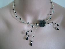 Collier Couleur Noir/Argenté p robe de Mariée/Mariage/Soirée Fleur perles verre