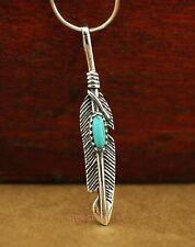 925 Sterling Silver Retro Feather Charm Pendant Necklace Biker Men Women A2319