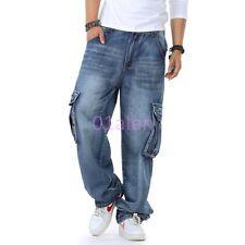 Mens Male Classic Denim Jean Long Trouser Hip Hops Baggy Pocket Cargo Retro Pant
