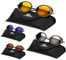 Unisex Round Sunglasses Steampunk Goggles Mirrored Cyber Glasses Box ,Case,Cloth