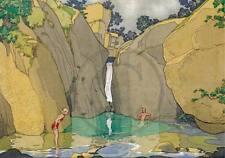 Bathing Pool, Vintage, Waterfall, 1920s,  A3 Art Deco Print