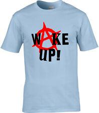 Political Mens T-Shirt Wake Up Anarchy Rage Against Politics Punk Election Vote