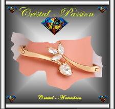 """Jonc Bangle Bracelet cristal autrichien """"Goutte """" doré à l'or fin et zirconium"""