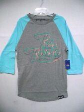 Pink Dolphin Mens Blue Gray Diz Script Ragland Baseball Tee Shirt Summer Cotton