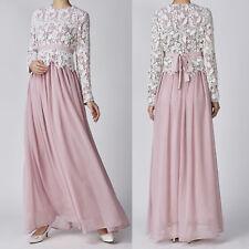 UK Women Ladies Lace Long Sleeve Abaya Muslim Wedding Evening Party Maxi Dresses