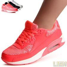 Damen Sneaker Turnschuhe Runners Schnürschuhe Sportschuhe Keilabsatz Glitzer