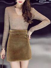 Élégant refinada completo falda de tubo beige manga suéter mangas 3059